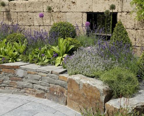 Pflanzen und Wand aus Natrustein
