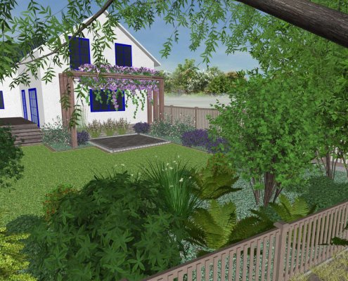 Visualisierung Vorgarten, Garten mit Terrasse