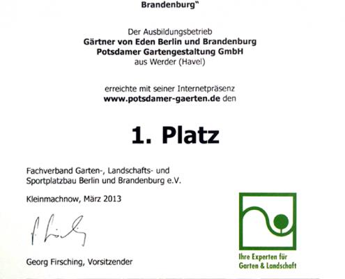 Urkunde Beste Homepage zur Ausbildung in Berlin und Brandenburg